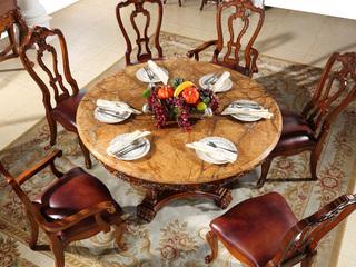 进口桃花芯木 天然雨林啡大理石 加厚实木雕花 结实结构 美式风格 实木餐桌 1.5米圆餐桌 餐厅餐台