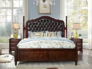 进口桦木 头层牛皮床头 双人公主床 美式乡村床 1.8米 深樱桃色