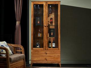 简乌金系列 乌金木(侧板、背板、抽面、底框、脚)+玻璃(柜门、层板)+柜桶松木(抽屉)+铜制拉手二门酒柜