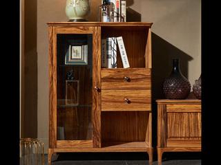 简乌金系列 乌金木(台面、抽面、框架)+玻璃(门板)+五金+铜制拉手二门矮柜