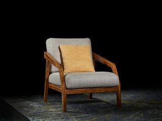 简乌金系列 乌金木+高密海绵+布艺休闲椅