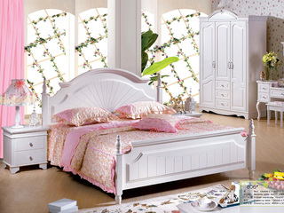 优质进口橡胶木坚固框架  象牙白 手工雕花 韩式风格1.8米床
