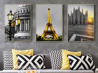 现代客厅挂画北欧沙发背景墙简约玄关画黑白三联有框餐厅装饰壁画