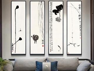新中式装饰画齐白石国画禅意水墨中国风客厅背景墙画玄关茶室壁画(四联画)