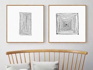 轨迹 新中式禅意客厅装饰画卧室床头挂画壁画线条走廊样板房墙画 (两联画)