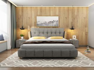 现代简约 灰色 1.8米 优质棉麻 防潮加固排骨架床