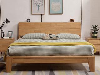 珍贵进口橡木框架  人体工学设计靠背 双人排骨架1.8米原木色大床