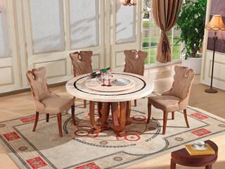 大理石餐桌现代简约实木餐桌 圆餐桌圆形北欧餐桌圆桌(含转盘)