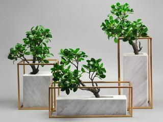 大理石加金属 新中式 大理石台面摆件含榕树  单品(包邮)