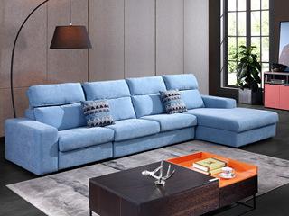 现代简约845布艺功能沙发 转角沙发1+2+左贵妃