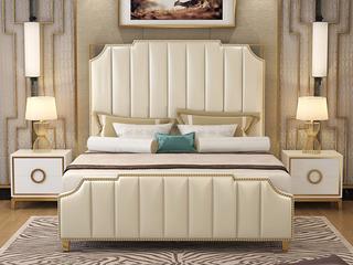 艾伦016轻奢意大利进口二层牛皮1.8*2.0米高箱床