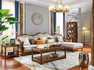 简美风格 进口橡胶木 全实木框架 金丝柚木色 沉稳厚重 店长推荐 美式转角沙发(1+3+左贵妃)