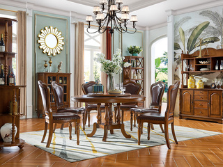 美式风格 多功能 实木 1.2米 餐桌(含转盘)