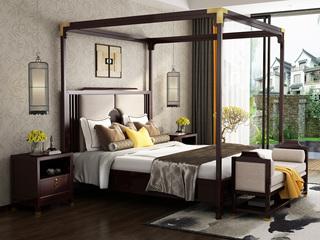 金丝檀木 复古新中式 1.8米新中式风格双人床+床架组合