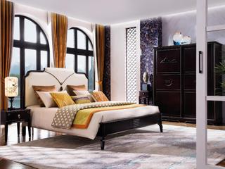 新中式系列 进口胡桃木 舒适亲肤靠背 新中式轻奢设计床1.8床