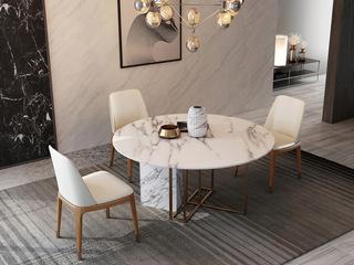 轻奢 白不锈钢镀金 大理石C06餐桌
