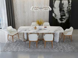 轻奢 白不锈钢镀金 大理石C08餐桌