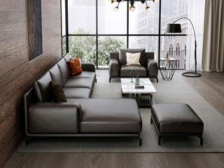 意式极简T08沙发  头层真皮 深棕色皮艺 双扶手单人沙发