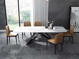 意式极简大理石餐桌 T1030白色2.0米长方形餐桌