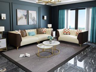 慕梵希 轻奢C05沙发米白配咖啡色 优质真皮沙发组合 2+4