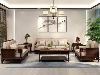 新中式 优质进口小乌金木 FA1902 沙发1+2+3