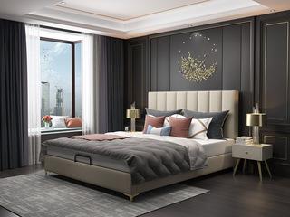 轻奢系列 米黄色  1.8米 舒适软靠+防潮加固排骨架 布艺床