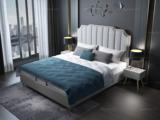 皮坊工艺 轻奢系列106床 1.5*2.0米浅灰色布艺床