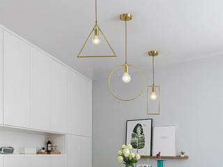北欧 铜本色8827-1DB 长方餐吊灯(含E27矮泡暖光5W)