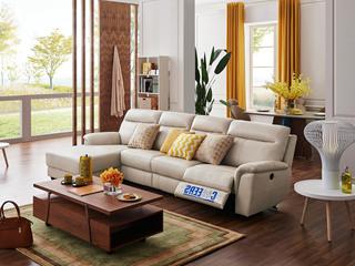 头等舱 真皮现代简约沙发客厅牛皮电动多功能组合椅整装象牙白转角沙发(电动可躺)(此款不含抱枕)