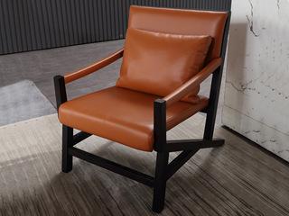 极简SQ-6亮橙色真皮休闲椅