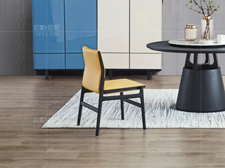 极简系列 进口北美白蜡木 PCV黑色+黄色餐椅