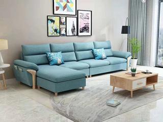 现代X1688B布艺沙发组合 浅蓝色