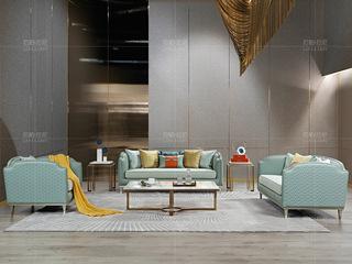 真皮沙发 时尚轻奢 意大利进口头层牛皮 舒适棉麻坐包 进口落叶松框架沙发 沙发组合(1+2+3)