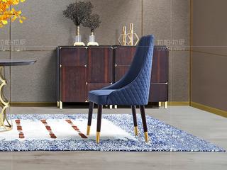 时尚轻奢 榉木 仿磨砂深蓝色餐椅