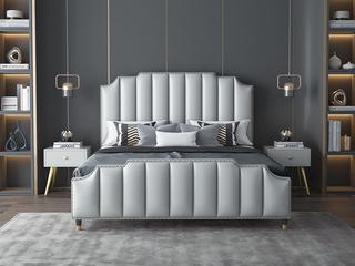 轻奢风格 豪华款 浅灰色 优质超纤皮 1.8*2.0米床