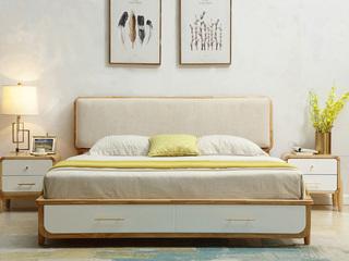 北欧风格 泰国进口橡胶木1.8米实木床