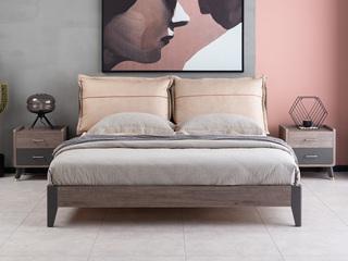 现代简约 高级灰 实木床脚 经济型卧室床 1.8*2.0米床(靠包双面两色)