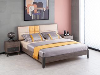 现代简约 高级灰 实木床脚 卧室双人床 1.8*2.0米床