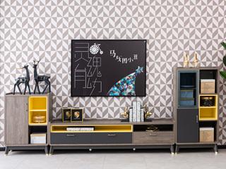 现代简约 高级灰 边柜 实木+钢化玻璃K-103(右边柜)