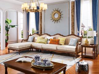简美风格 进口橡胶木 坚固有形 金丝柚木色 颜色靓丽 店长推荐 美式转角沙发(1+3+右贵妃)