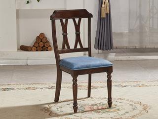 简美风格 北美鹅掌楸木 仿真油腊皮皮面餐椅
