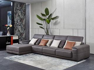 现代简约 进口鸵鸟纹科技布面料 座包带活动伸缩功能 温馨灵活  弹簧底坐 转角沙发(1+3+右贵妃)