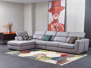 现代简约 棉麻布 弹簧底坐 转角沙发(1+3+右贵妃)