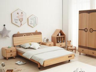北欧风格 榉木坚固框架 手工木蜡油工艺 曲奇色 ET6102儿童床 1.2*1.9米儿童床