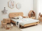 北欧印象 北欧风格 榉木坚固框架 手工木蜡油工艺 曲奇色 ET6110儿童床 1.5*1.9米儿童床