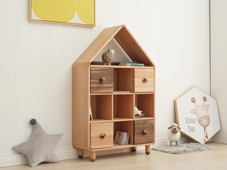 北欧风格 榉木坚固框架 手工木蜡油工艺 曲奇色 ET6506中书柜