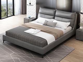 现代简约 超柔科技布软包+实木框架 浅灰色1.8米床