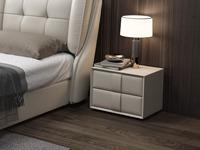 皮坊工藝 現代簡約 捫皮 淺灰色床頭柜