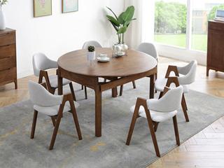 北欧风格 2320实木餐桌 胡桃色餐桌