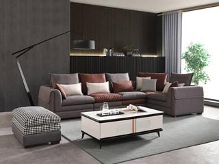 现代简约 进口樟子松坚固框架 科技布 羽绒+乳胶 F32 弹簧底坐 沙发组合(1+1+2+左转角+脚踏)